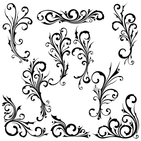Black tribal wavy concept. Cool vector floral collection suitable for tattoo design. Curls with punk or tribal design. Иллюстрация