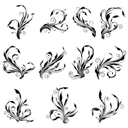 Collection of curl floral vector graphic with spiral leaves. Abstract silhouette of swirl branches with spine and sharp top like a weed. Иллюстрация