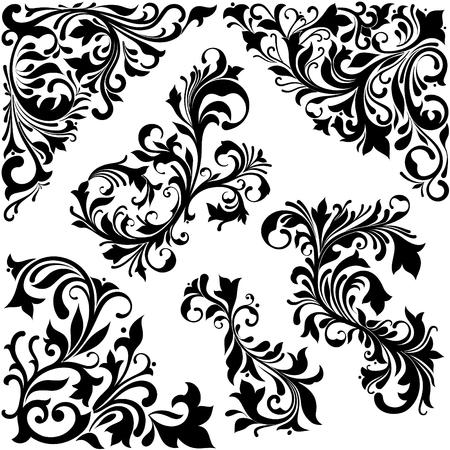 Elegant baroque floral vector concept. Plentiful ornamental curls. Floral corner for damask pattern. Иллюстрация