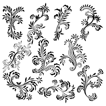 Set of delicate abstract floral vector with a lot of leaves. Beautiful curls silhouette.