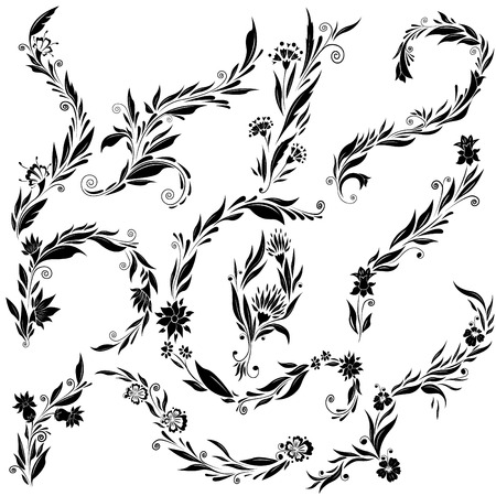 Silhouettes of elegant abstract branches with leaves. Swirl floral vector ornaments. Curly delicate branches with abstract flowers.
