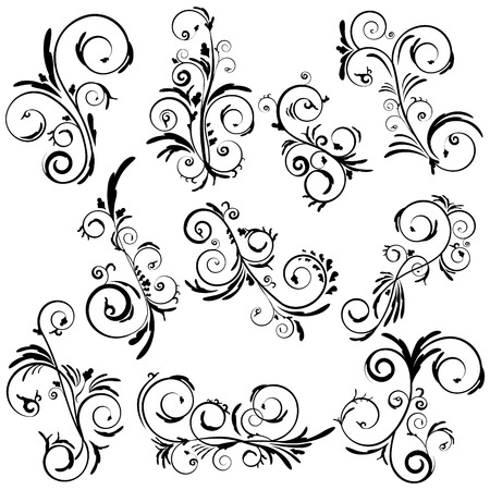 Abstract elegant curly set. Swirl beautiful floral vector collection. Decorative leaves and wavys. Иллюстрация