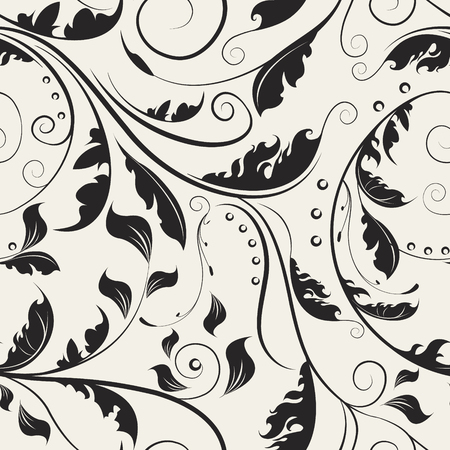 Delicate ornamental swirl leaves. Luxury floral seamless pattern. Curly vector background. Иллюстрация