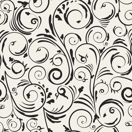 Ornamental abstract wavy vector texture. Continuous romantic floral backgroumd. Monochrome curly seamless pattern.