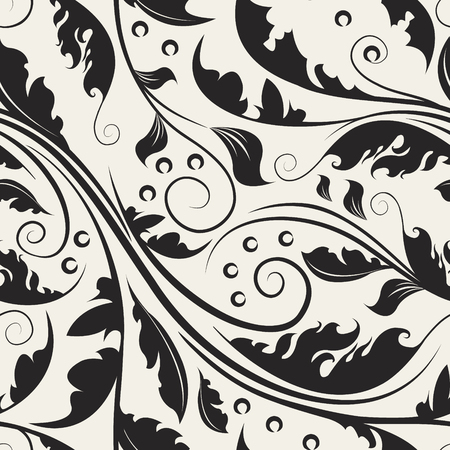 Repeating black curve leaves. Seamless pattern of abstract floral. Beautiful vector swirl background.