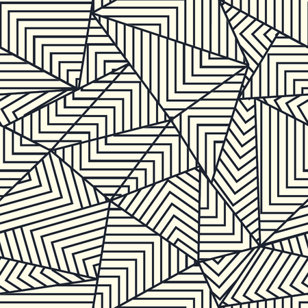 Abstract triangle shapes with lines grid structure. Continuous monochrome vector background. Trendy seamless pattern. Иллюстрация