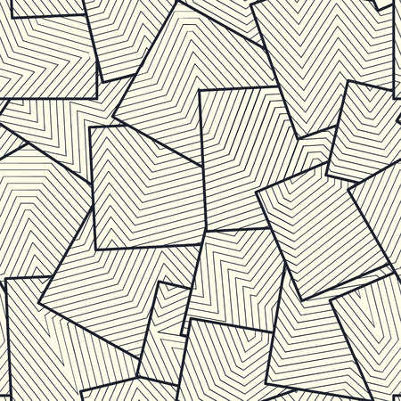 Asymmetric squares tiles filled with lines grid. Repetitive vector structure. Monochrome seamless pattern modern design. Иллюстрация