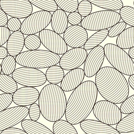 Brown oval shapes on cream-colored background. Ellipsoidal grid vector. Abstract seamless pattern with lines structure. Фото со стока - 121666956