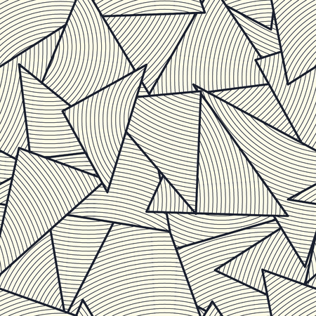 Creative triangle structure filled with lines grid. Endless vector texture. Geometric striped seamless pattern.