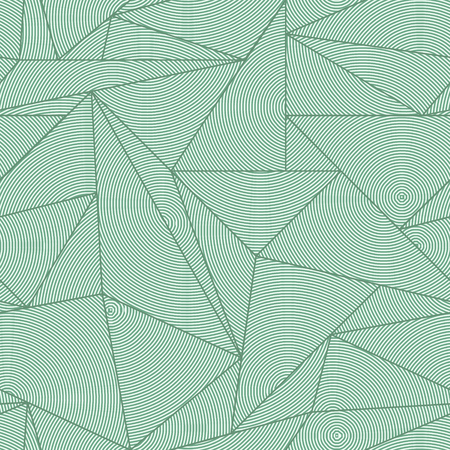 Endless triangle structure. Asymmetric vector texture. Abstract decor seamless pattern with green lines.  イラスト・ベクター素材