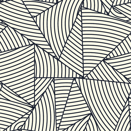 Geometric design seamless pattern. Triangle pavement. Line structure vector background. Monochrome modern design for packaging. Фото со стока - 121666964