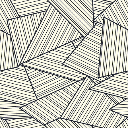 Geometric tiles with parallel stripes repetitive vector. Monochrome hipster decor. Lines grid seamless pattern. Elegant design.