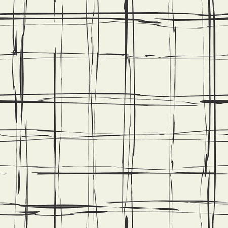 Plaid grungy vector texture. Damaged scotland fabric. Continuity monochrome background. Grunge checkered seamless pattern.