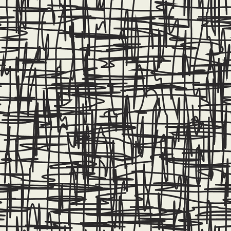 Grid vector background with splotch lines. Scrawl seamless pattern. Damaged grid. Trembling lines. 일러스트