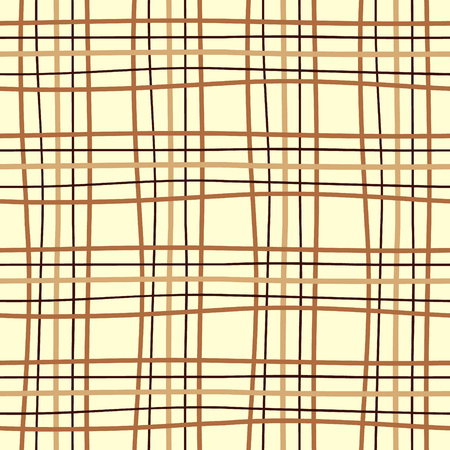 Colored checkered seamless pattern. Hand drawn crooked lines. Endless tartan vector background.