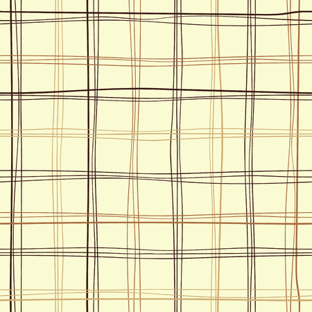 Repetitive vector tartan fabric. Table wool design. Hand-drawn crooked lines seamless pattern for packaging. Иллюстрация