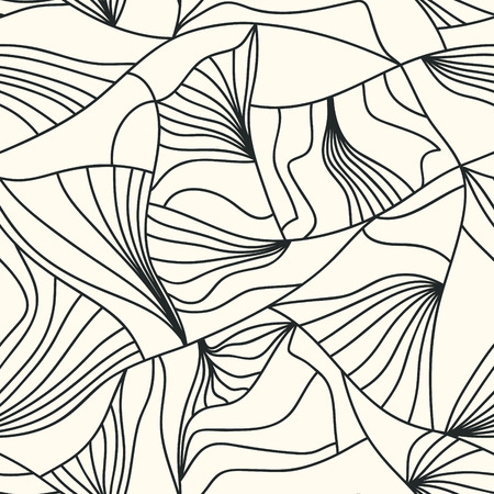 Beautiful continuity waves lines. Vector molecule background. Freehand lines seamless pattern.