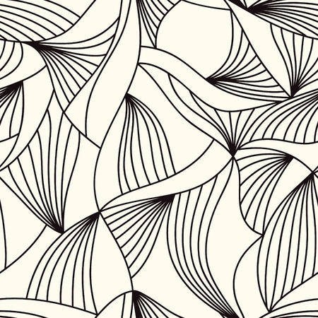 Trendy seamless pattern concept with freehand drawn waves lines. Complicated connected line structure. Undulated mesh texture. Иллюстрация