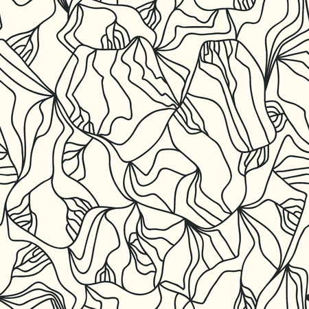 Irregular lines drawn by hand. Bionic vector background concept. Modern monochrome seamless pattern with tangled lines. Фото со стока - 121667009