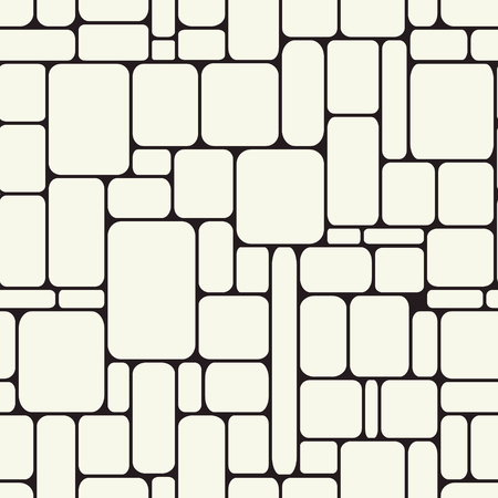 Stone endless structure. Rectangles with rounded edges monochrome background. Poster of wall construction. Vector seamless pattern. Illusztráció