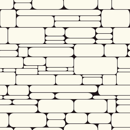 Monochrome stone wall seamless pattern. Different stones structure for print. Repeat rock surface. Vector background.