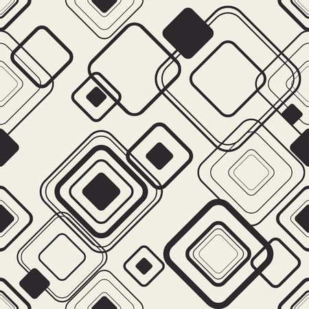 Monochrome geometric seamless pattern. Squares structure. stylish package compozition. Endless vector.
