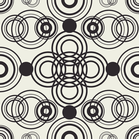 Tangled circles vector wallpaper. Black outline round structure. Package design. Geometric seamless pattern.