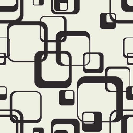 Tangled squares with rounded edges. Vector background. Monochrome wallpaper. Endless package. Trendy seamless pattern. Фото со стока - 121667033