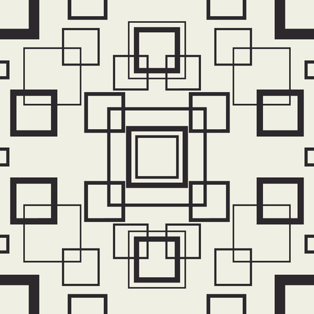 Tangle squares seamless pattern. Continuous vector background with rectangle shapes. Monochrome print design.