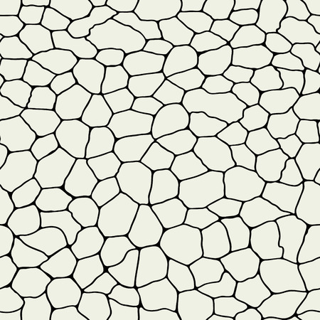 Monochrome craquelure seamless pattern. Cracked surface. Mosaic vector decor for wallpaper. Continuity pavement urban. Фото со стока - 121667043