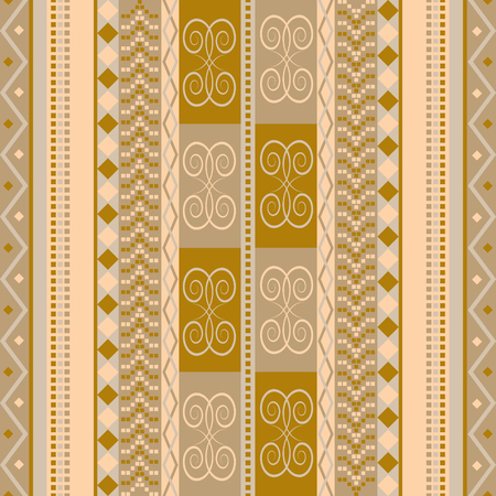 Continuous traditional texture. Brown vector background with ethnic motifs. Cultural fabric decor. Vintage seamless pattern.