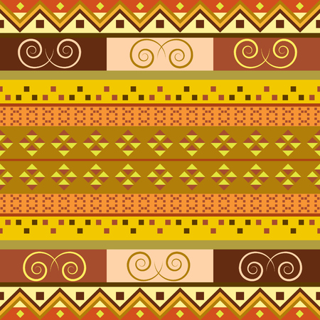 Endless traditional motif. Brown background with geometric shapes. Fabric seamless pattern. Иллюстрация