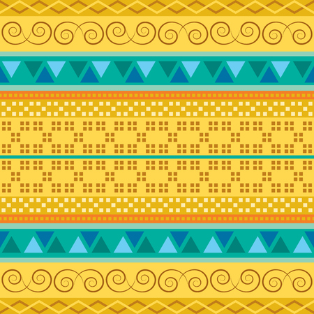 Ethnic geometric motifs on yellow vector background. Colored national carpet. Traditional seamless pattern.