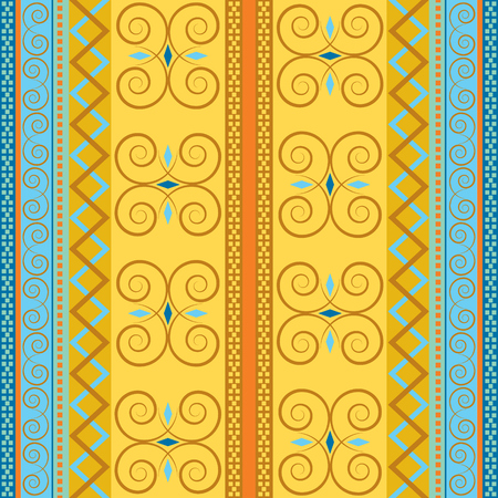 Geometric retro motifs on colored vector background. Endless traditional decor. Ethnic seamless pattern.