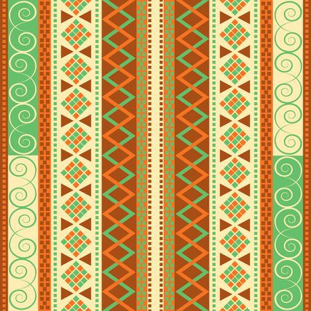Old cultural texture. Traditional seamless pattern with geometric motifs. Repeat vector decor. Иллюстрация
