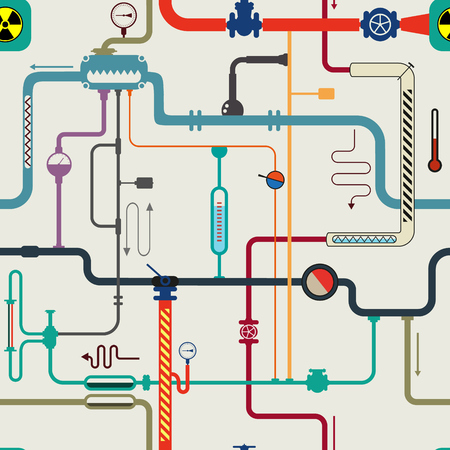 Complex pipe labirinth with sensor, boil, counter, faucet, hazard sign, manometer, tube on vector backgroun.  chemistry experiment lab. Cartoon scientific seamless pattern.