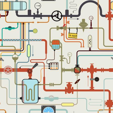 Laberinto de tubos de colores en laboratorio científico. Fondo de vector sin fin. Tubería con dispositivos de medición de presión, sensor, contador, grifo, termómetro, manómetro. Patrón transparente de dibujos animados de química.
