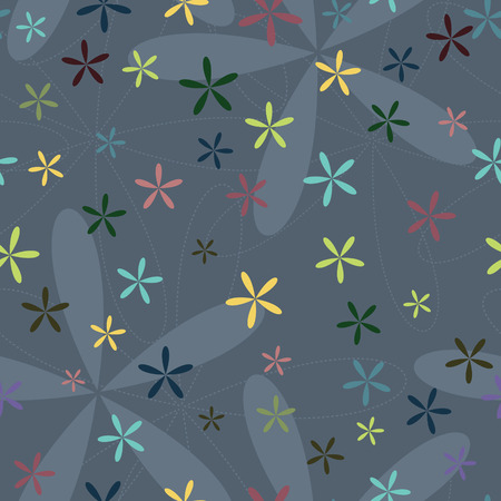 Colored abstract flowers with five petals on grey vector background. Ornamental seamless patterns.
