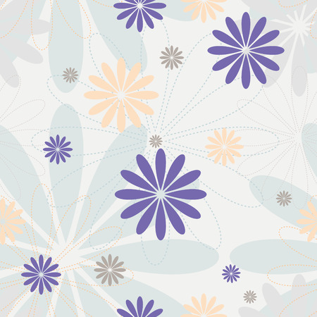 Mauve delicate flowers vector endless. Pastel colors seamless pattern. Vettoriali