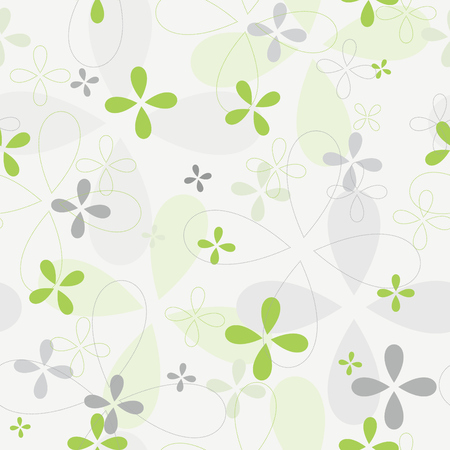 Beutiful vector background with green floral decor. Endless decorative print. Delicate swirl ornament. Decorative seamless pattern. Vettoriali