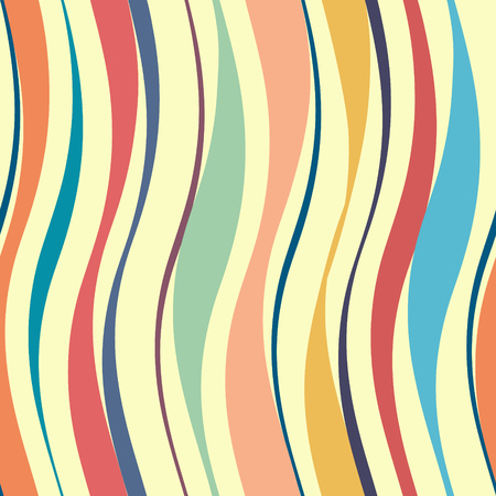 Colorful corrugated vertical shapes vector background. Wavy seamless pattern.