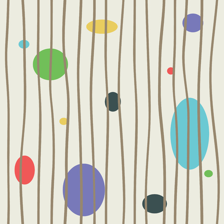 Vertical bars with colored circle endless vector. Trendy asymmetric grid lines seamless pattern. Cool wallpaper decor. 일러스트