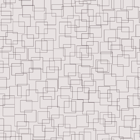Decorative repeat vector wallpaper with intricate squares. Monochrome tanggled polygons. Contour squares grid semless pattern.