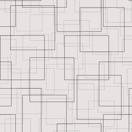 Monochrome vector background with rendered squares. Stitch squares. Geometric seamless pattern with rectangular with sewing appearance. Vettoriali