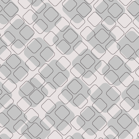 Squares with sewing appearance vector background. Dotted polygons. Geometric stitch shapes seamless pattern.