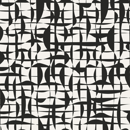Abstract endless design vector background. Psychedelic monochrome shapes. Grunge grid seamless pattern. 일러스트
