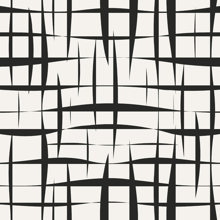 Abstract grid with grungy shapes vector endless. Damaged mesh seamless pattern.