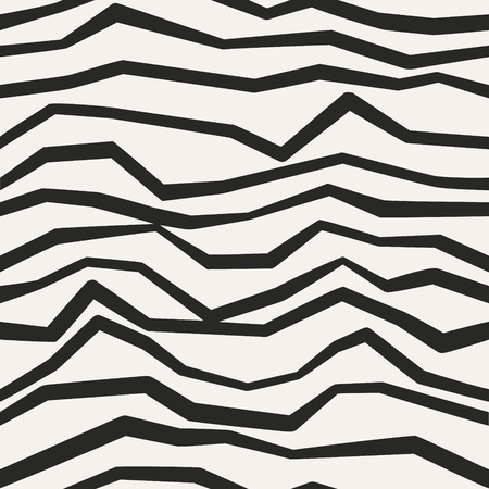 Broken lines vector decor. Endless abstract zigzag structure. Jagged monochrome seamless pattern.