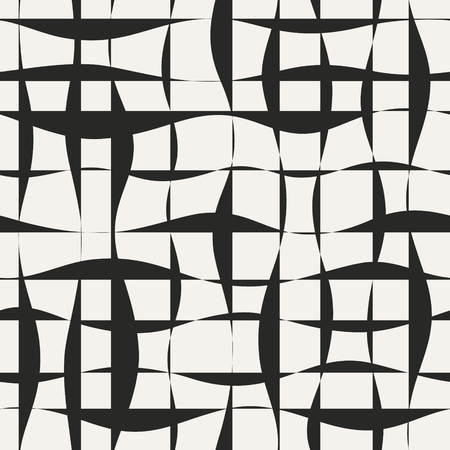 Monochrome grid vector background with grunge shapes. Jagged lines seamless pattern.
