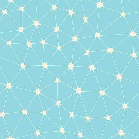 Abstract bionic grid with stars in nodes on blue vector background. Molecule connection seamless pattern.